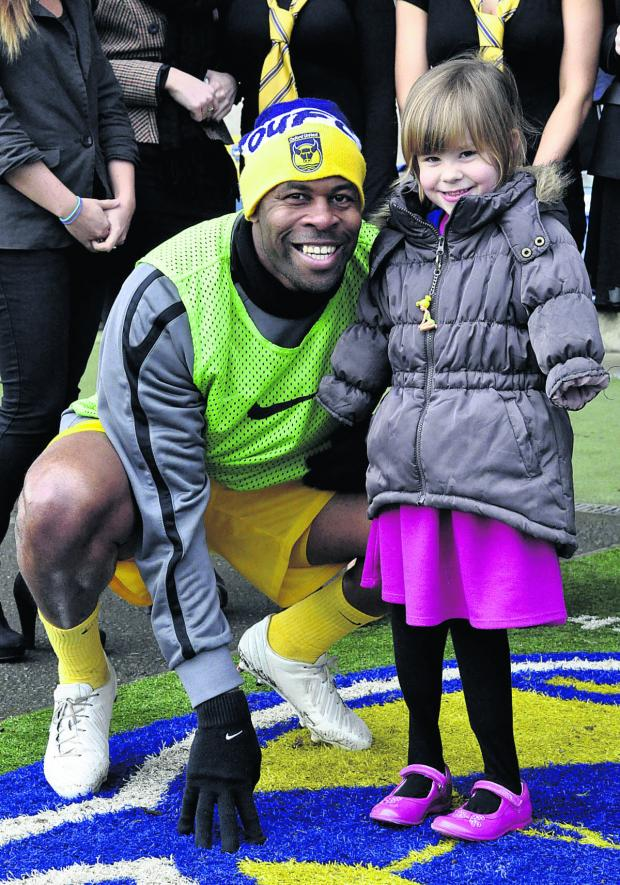 BIG MATCH: United defender Michael Duberry meets Charlotte Nott at half-time of the League Two clash with Chesterfield on Saturday