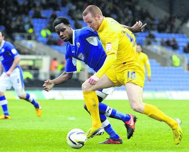 Deane Smalley on the attack in Oxford United's defeat to Chesterfield last weekend, which dented their play-off hopes Picture: David Fleming
