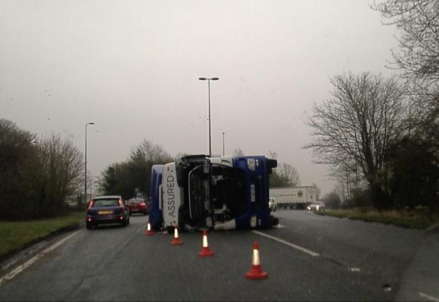 The overturned lorry, photographed by reader Liam Walker