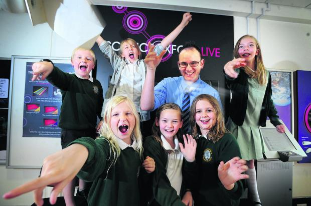 The team from John Hampden School in Thame – back from left, David Ellis, 10, Millie Dimmock, 10, teacher David Nutt and Amy Laws, 10; front from left, Bridget Harrington, 10, Taylor Eadle, nine, and Kate Nicholls 10