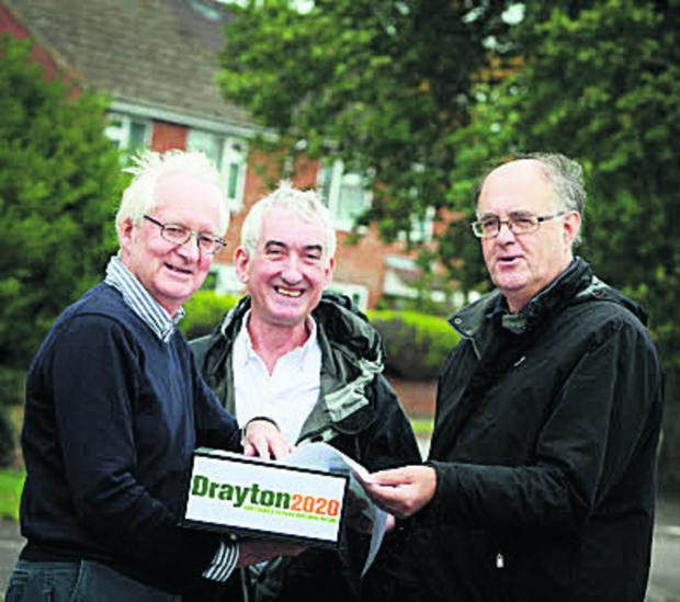 Drayton2020 chairman Andrew Bax, left, with vice chairman Tom Shebbeare, centre, and district and county councillor for Drayton Richard Webber