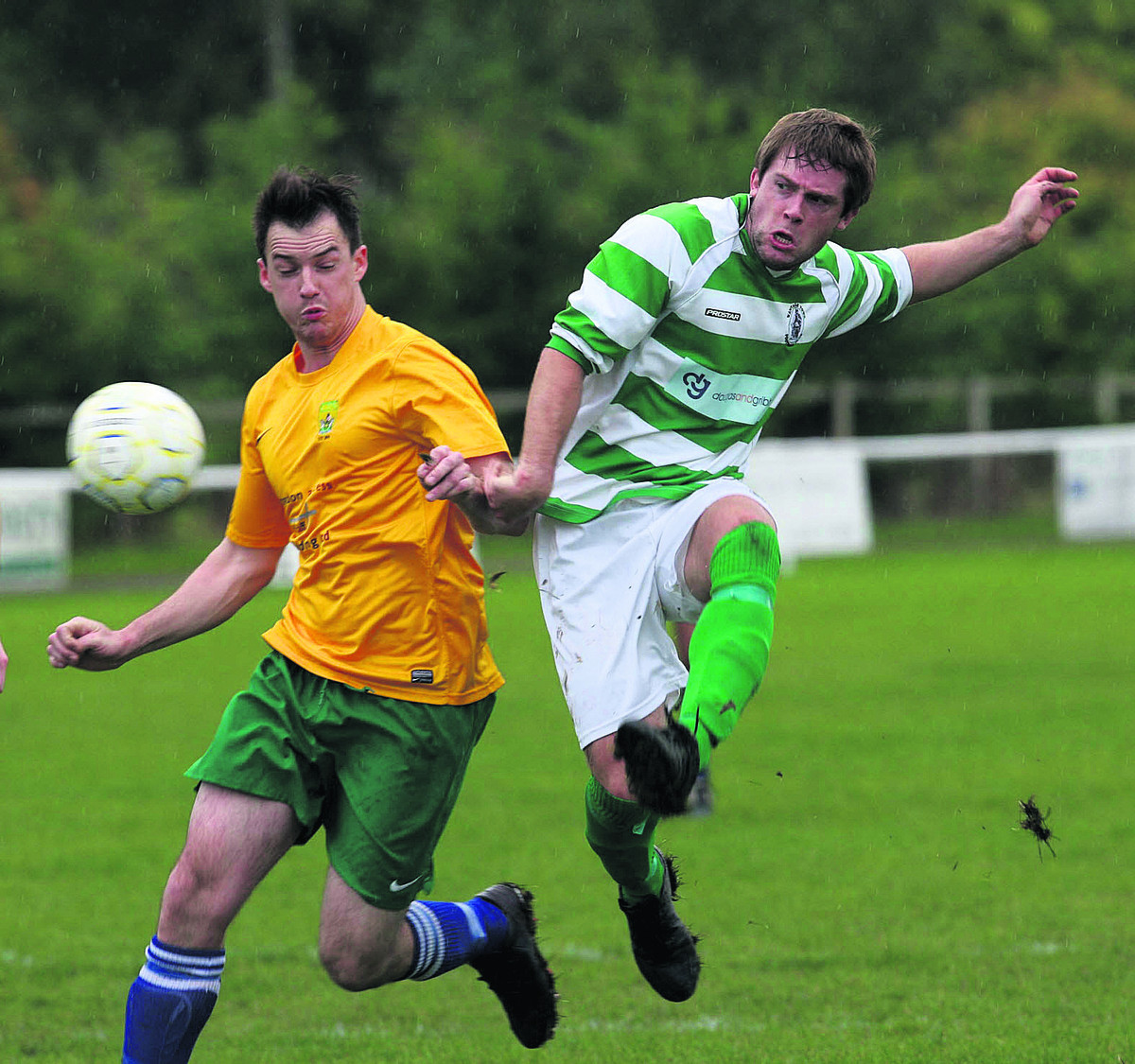 Richie Claydon shoots for goal for Wantage Town against Abingdon Town