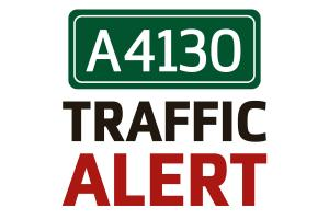 A4130 blocked after car goes into ditch