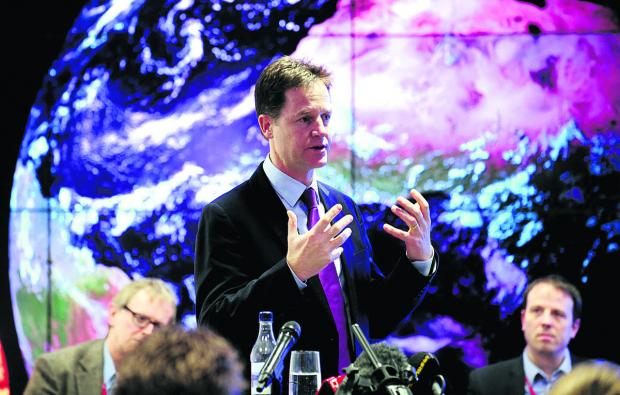 Science centre: Deputy Prime Minister Nick Clegg, speaking at the Harwell Science and Innovation Campus, where he officially signed the City Deal documents