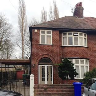 A house linked to student Abu Layth in Didsbury, Manchester, which was searched by police