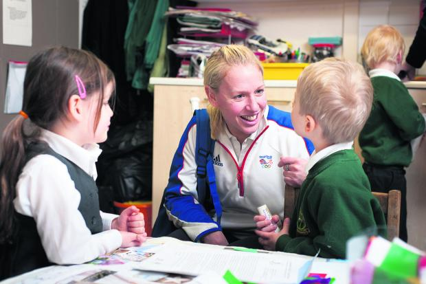 inspiring: Gail Emms chats to five-year-old Esme Williams and Ben Wilson, four