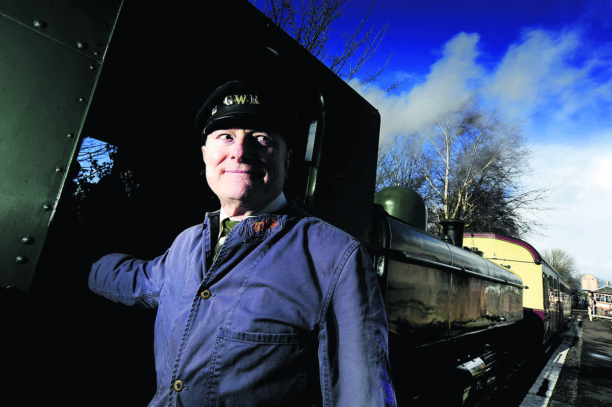 Engine driver Peter Bristow, 76, at Didcot Railway Centre