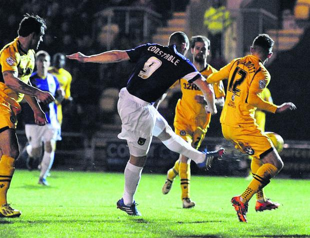 Herald Series: James Constable fires Oxford United into an early lead at Newport tonight