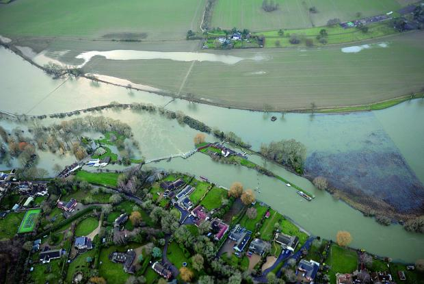 An aerial shot of flood damage in Wallingford, taken by an RAF Benson crew