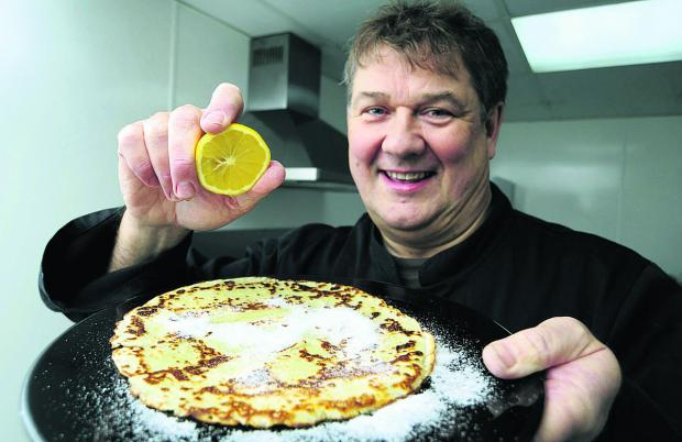 Paul Bellchambers with his finished pancake