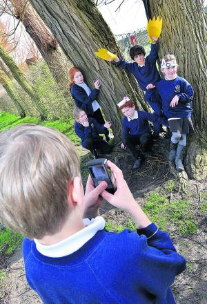 Chalgrove Primary School pupils Kieran Justice, nine, behind the camera, with actors, left to right, Martha Gibbons, nine, Laura Campbell, eight, Alistair Carter, nine, Raffety Spiers, eight, and Daisy Hogger, eight