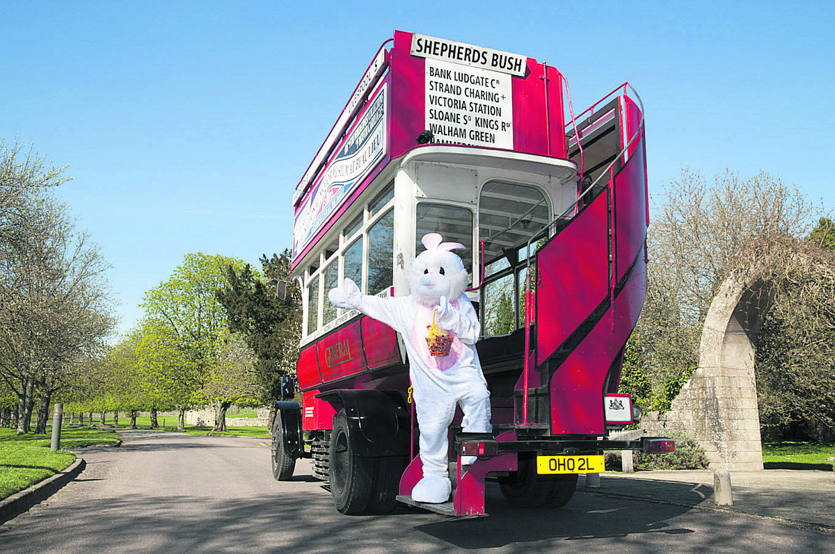 All aboard . . . The Easter Bunny and open-top bus
