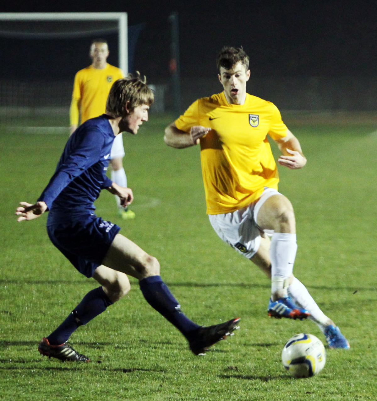 Jon Meades in action on his comeback for Oxford United's development squad tonight