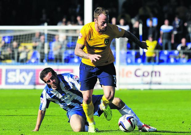 Herald Series: Sean Rigg gets clear during the 3-1 win at Hartlepool United in September