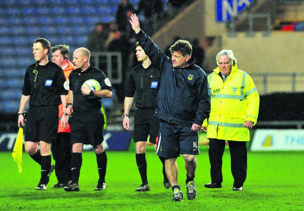 Mickey Lewis salutes the fans after the 1-0 win over Hartlepool, which is expected to be his last game in charge