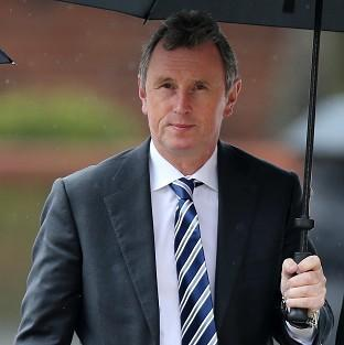 Former deputy speaker of the House of Commons Nigel Evans arrives at Preston Crown Court, where he faces nine charges