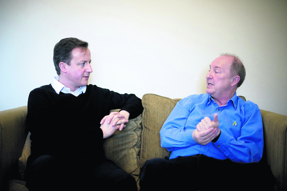 Prime Minister David Cameron meeting cancer campaigner Clive Stone in 2010. Picture: Andrew Parsons