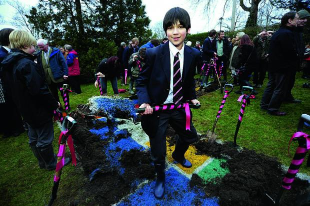 Abingdon School are breaking ground on their new science centre. Didier Delgorge, 12, gets stuck into the digging   	 Picture: OX65923 David Fleming