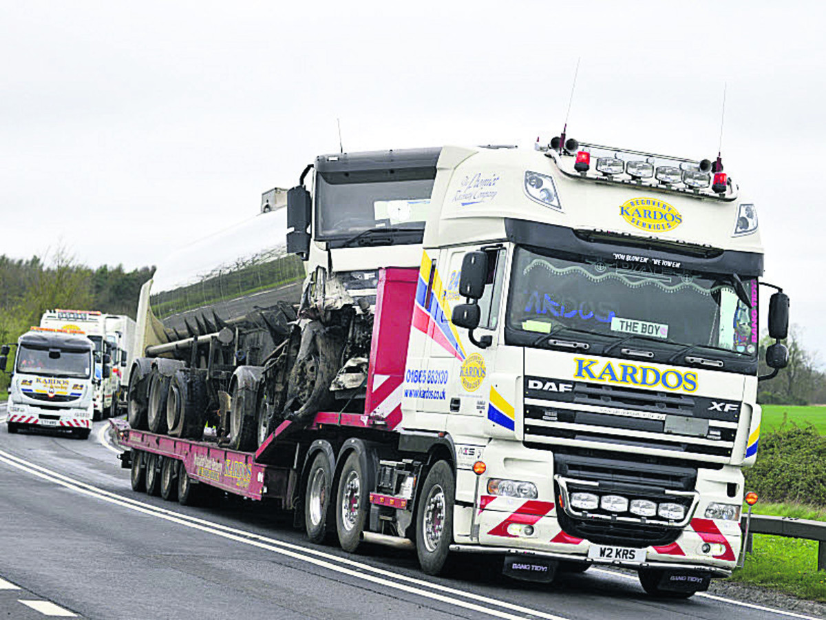 Vehicles are recovered after the accident on the A420 near Buckland on Sunday