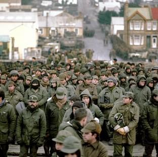 Argentine prisoners of war massed in Port Stanley, capital of the Falkland Islands, after their surrender to the British Falkland Islands Task Force in 1982