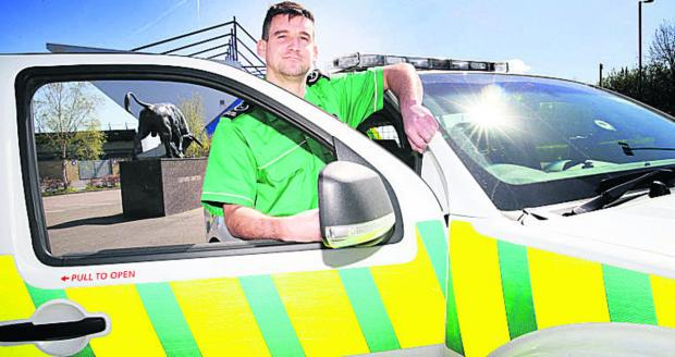 Herald Series: St John Ambulance district manager, Craig Heigold at the Kassam Stadium