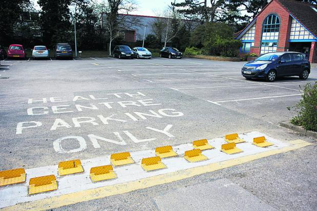 The tyre barriers in the car park at the Marcham Road Health Centre which have been criticised by staff at Abingdon Community Hospital next door