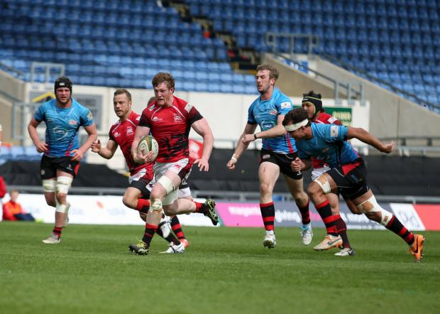 Herald Series: John Quill attacks for London Welsh against Jersey on Saturday                        Picture: Martin John
