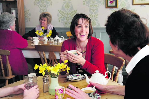 Laura Freeth, Death Cafe facilitator for OXBEL, meets and talks to people in a local cafe.  Picture: OX66632 David Fleming