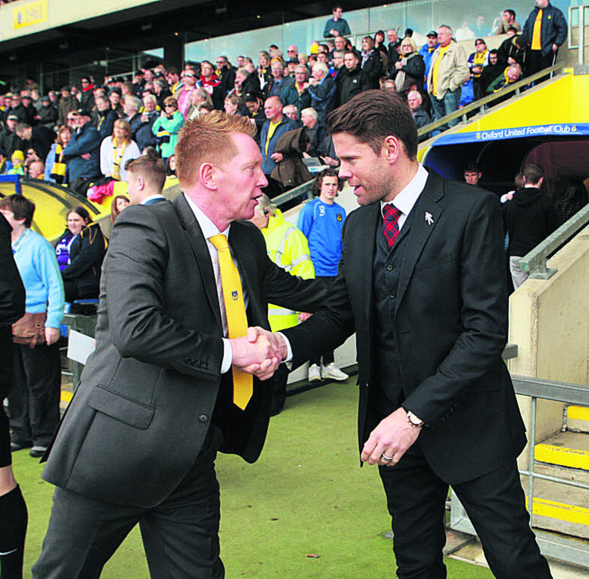 James Beattie shakes hands with Gary Waddock