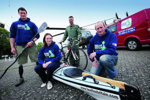 Herald Series: Team Beeline at RAF Benson. From left, Nick Beighton, Tori James, Ian O'Grady and Adam Harmer, who will attempt to navigate Land's End to John O'Groats in a straight line
