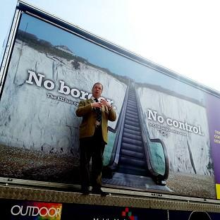 Ukip leader Nigel Farage launches Ukip's billboard campaign for the Euro-elections in Dover, Kent
