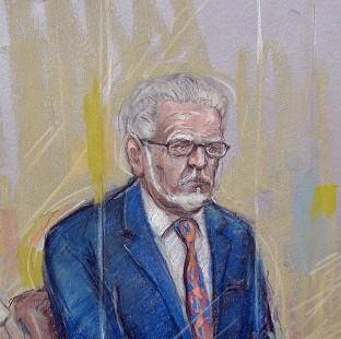 Herald Series: Court artist sketch by Elizabeth Cook of Rolf Harris who appeared at Southwark Crown Court where he pleaded not guilty to 12 charges dating back to the late 1960s