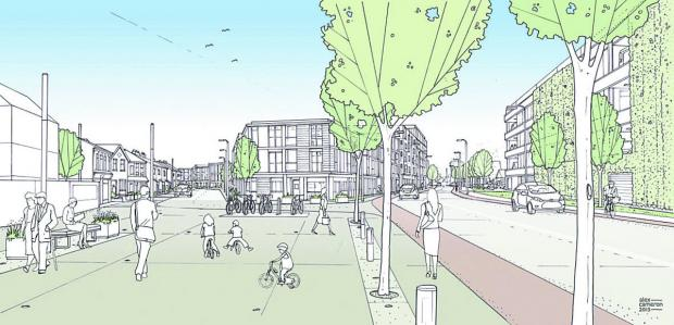 An artist's impression of plans to redevelop the area around the Labour Club in Didcot