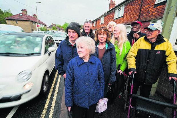 Sue Smith, third from right, with other residents concerned by air pollution. Picture: OX66938 Greg Blatchford