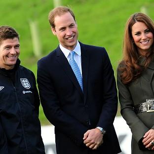 The Duke and Duchess of Cambridge with Steven Gerrard during the official launch of The Football Association's National Football Centre at St George's Park in Burton-upon-Trent, England.