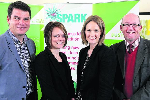 Herald Series: From left, Stuart Miller, of Bybox; Jo Willet, of Oxford Innovation; Suzanne Malcolm, of Vale of White Horse District Council; and Iain Nicholson, Wantage Town Team coordinator