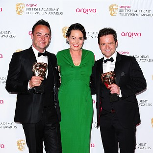 Bafta winners Anthony McPartlin and Declan Donnelly with actress Olivia Colman