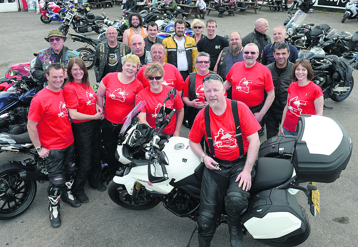 Paul Long, front, with some of the bikers at the H Cafe near Berinsfield, the starting point for their fundraiser