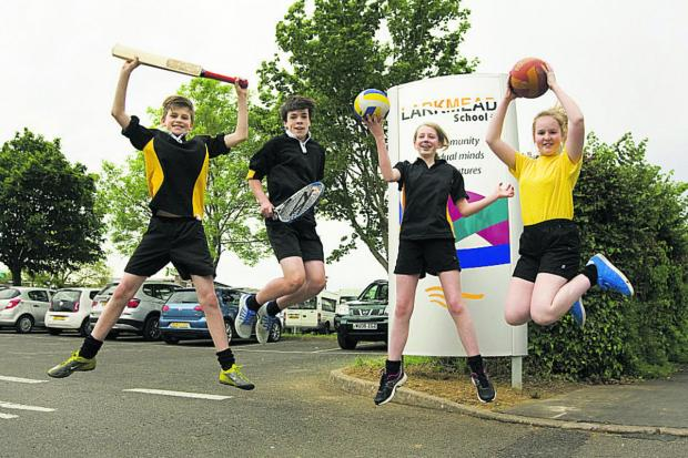 Pupils Alex Bygrave, Gus Bowers, Charlie Preece, Niamh Goodway celebrate the grant. Picture: OX67317 Ant
