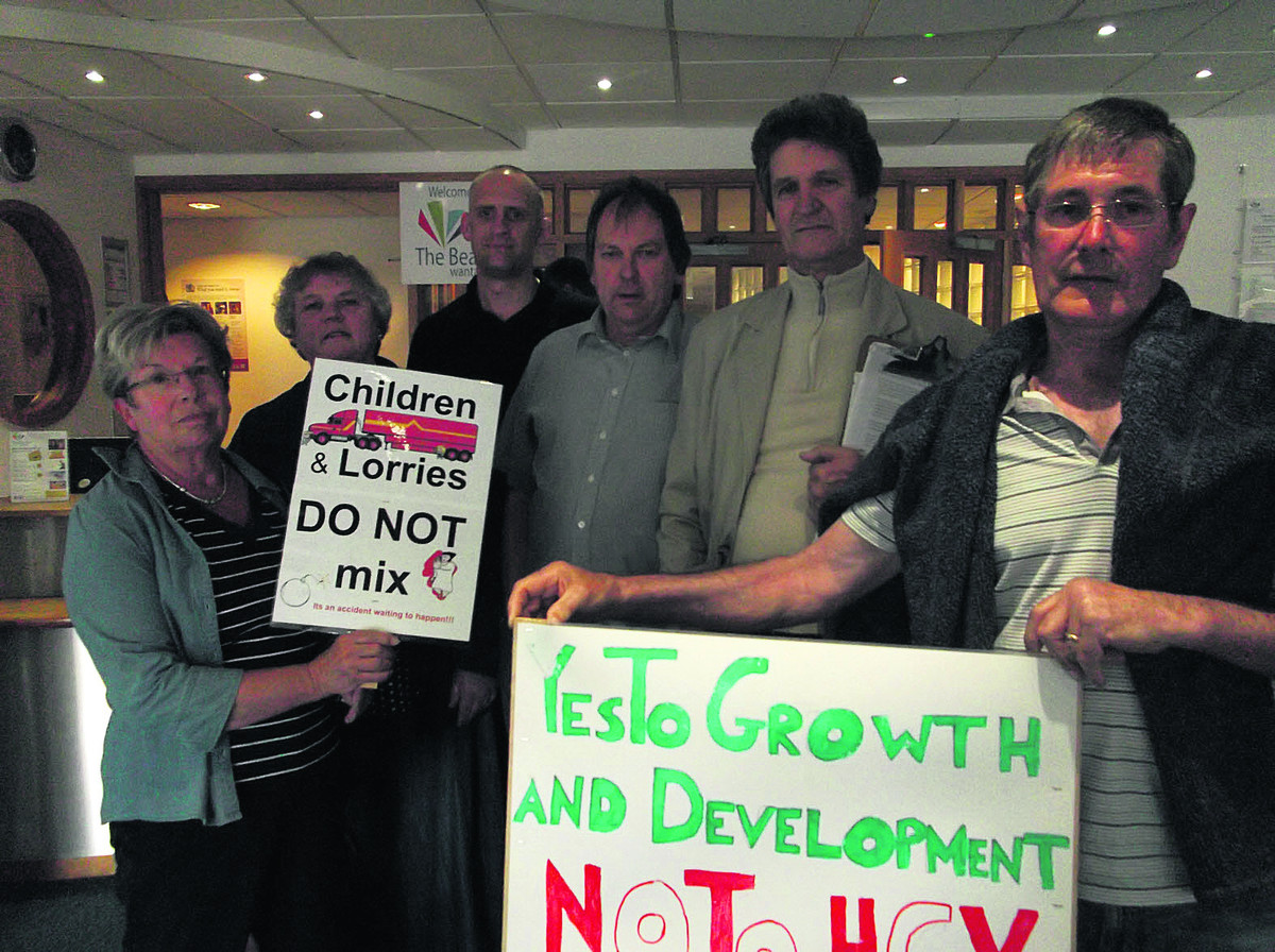 From left, Sutton Courtenay residents Lesley Clements, Julie McDonnell, Christian Sawyer, Bill Hanks, David McKenzie and Steve Noyce, who turned out to protest about the plans