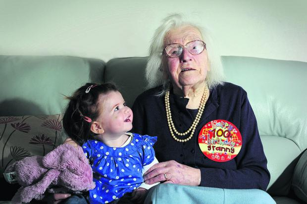 Beatrice 'Molly' Johnson, who was 100 on Monday, and her great-great-granddaughter Phoebe, who will be one next week