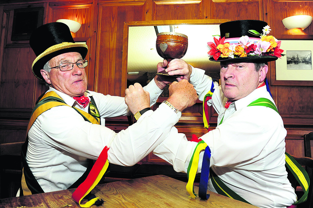 From left, Roger Cox, 65, and Harry Knight, 63, prepare to battle it out for the Mayor of Ock Street's official cup of office at The Brewery Tap for this month's annual election scheduled to take place on Saturday, June 21 Picture: OX67752 David Flemi