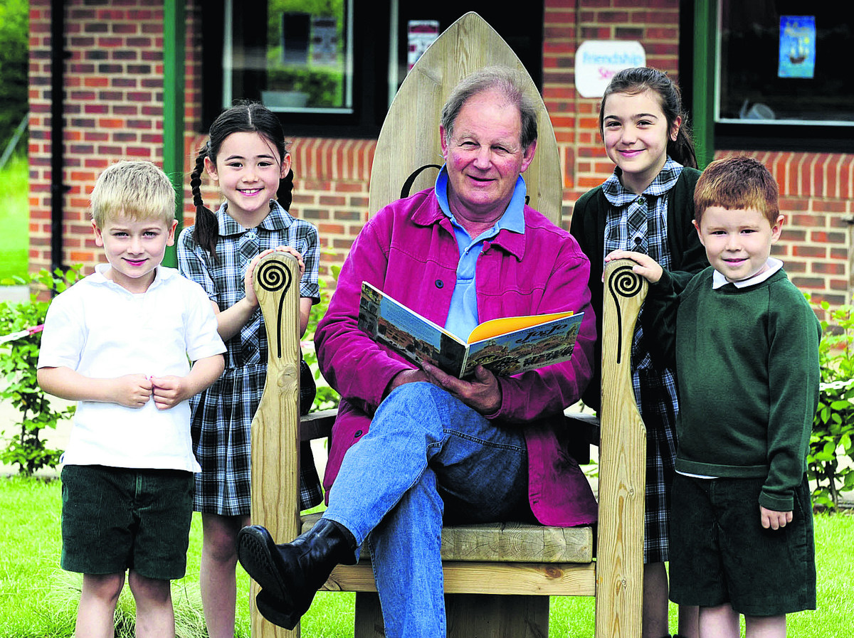 Pictured with War Horse author Michael Morpurgo are, from left, Oliver Willis