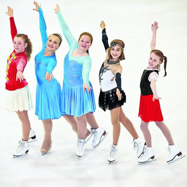 Herald Series: From left, the young skaters in action, Ceri Kearney, 12, Anais Arnould, 13, Juliana Drozd, 14, Emily-Kate Barnett, 12, and Katie Garman, 11. Picture: OX67961 Cliff Hide