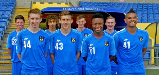 Herald Series: Oxford United's scholars line up at the Kassam Stadium yesterday. Back row (from left): Lewis Hayden, Miles Welch-Hayes, George Jeacock, Cian McCormack. Front: Kieran Andrews, Seth Humphries, Luke Hastings, Drew Ricketts
