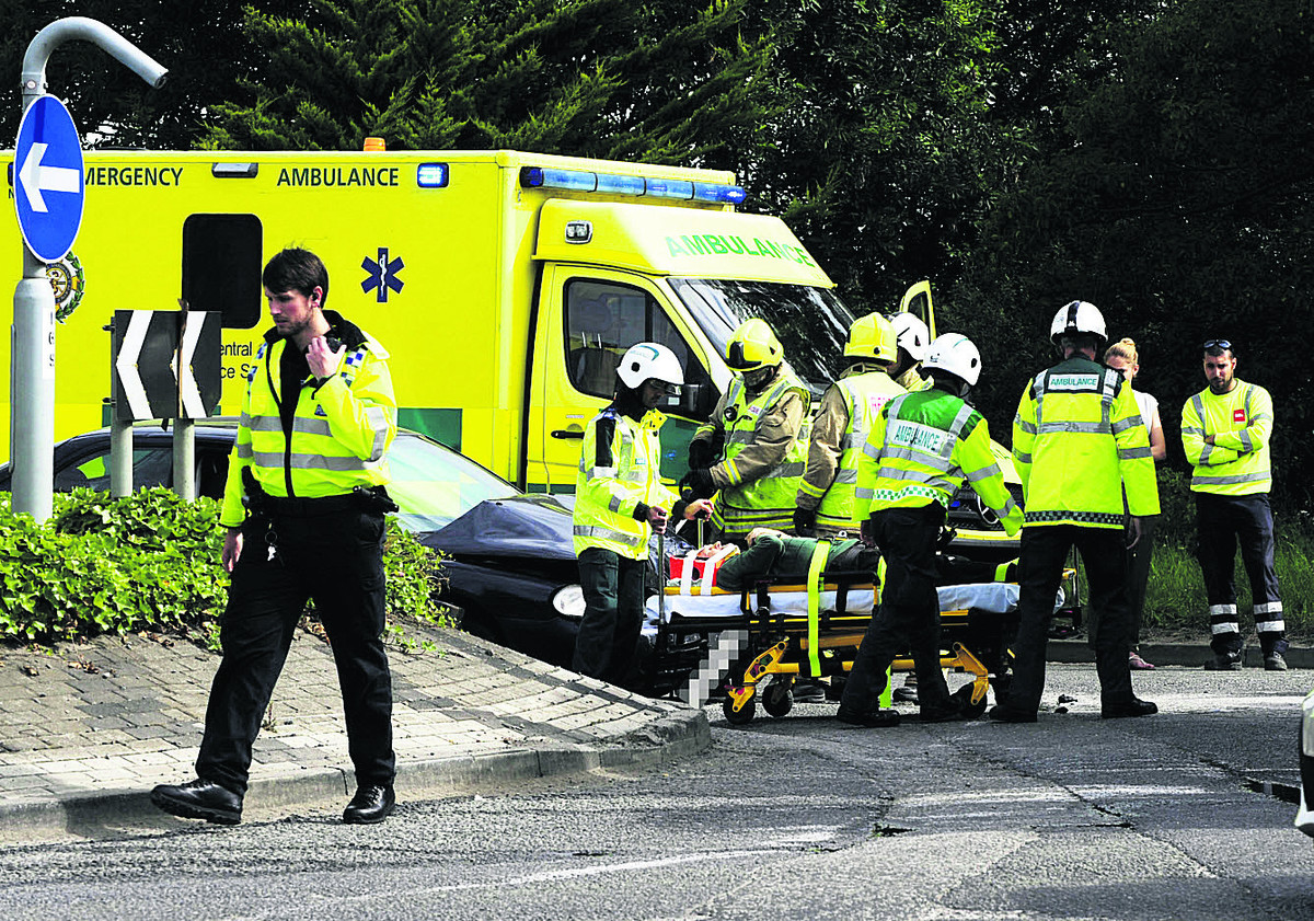 A man is taken by medical by staff after being involved in an accident on the outskirts of Didcot. Picture: David Fleming