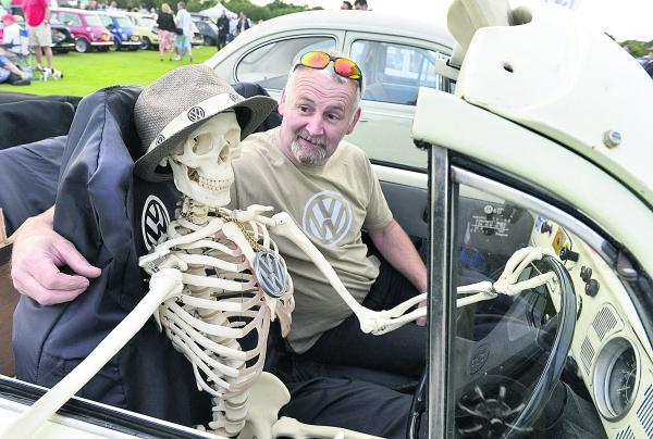 Julian Blagden with a rather boney companion in his 1971 VW Beetle
