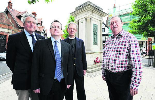 From left, Bob Griffiths, secretary of Abingdon branch of the Royal British Legion, town clerk Nigel Warner, Rev Charles Miller, team rector for Abingdon parish and councillor Mike Badcock