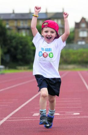 William de Croos in training for his mini triathlon