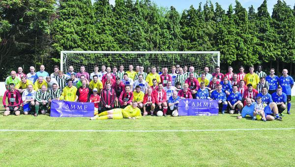 The footballers taking part in the Charlie Allum Memorial Day at the Hithercroft sports park on Saturday.  Pictures: OX68782 Denis Kennedy